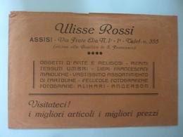 """Busta Pubblicitaria """"ULISSE ROSSI  - ASSISI"""" Anni '50 - Advertising"""