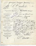 Facture 1911 / 55 REVIGNY / S OUDOT / Maison COSSON / Constructeur Mécanicien / Roues Hydrauliques / Sciage / Scies - France