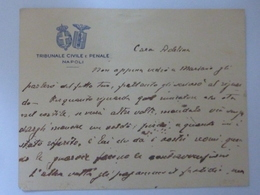 """Cartoncino Manoscritto Con Busta """"TRIBUNALE CIVILE E PENALE NAPOLI"""" Anni '30 - Manoscritti"""