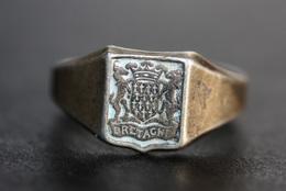 """Bague Ancienne Chevalière Argent 800 Années 50 """"Bretagne"""" 17.3mm - T54 - Brittany Celtic Ring - Bagues"""
