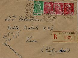 1950 - Enveloppe RECC De RIVARENNES ( Indre Et Loire )cad De Facteur-Receveur  Affr.  Gandon à 50 F - Storia Postale
