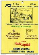 PASS BADGE RACE MOTORSPORTS TARGA FLORIO AUTOSTORICHE UFFICIALE GARA - Automobile - F1