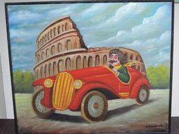 SALVO LOMBARDO AUTO & COLOSSEO OLIO TELA 60X50 Firma & Timbro Archivio Lombardo - Automobilismo - F1