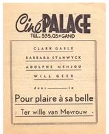 Ciné Cinema Bioscoop Pub Reclame Film Programma - Ciné Palace Gand Gent - Clark Gable - Publicité Cinématographique