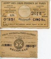D112. COLIS POSTAUX LOT DE 2 VIGNETTES RECEPISSE PARIS - Briefe U. Dokumente