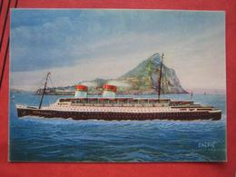 """Gibraltar - Künstlerkarte Passagierschiff """"Conte Di Savoia"""" : Passaggio Dello Stretto Di Gibilterra - Steamers"""