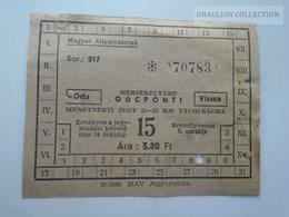 ZA153.18  Hungary  Railway Ticket  1960    Vésztő  A  -Magyar Államvasutak - Titres De Transport