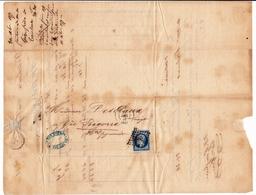 Lettre 1858 Toulouse Gèze Frères Haute Garonne Desclaux Vic De Bigorre Hautes Pyrénées Eau De Vie Rhum - 1853-1860 Napoleon III