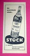 STOCK IL BRANDY 1959 PUBBLICITA' ORIGINALE DA RIVISTA D'EPOCA VINTAGE - Pubblicitari