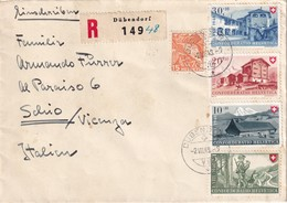 SUISSE 1948 LETTRE RECOMMANDEE DE DÜBENDORF AVEC CACHET ARRIVEE SCHIO - Briefe U. Dokumente