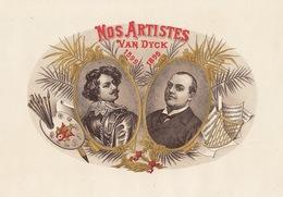 Grande étiquette Boite à Cigare Havane NOS ARTISTE VAN DIJCK Peintre - Etiquettes