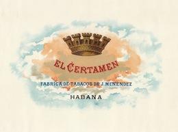 Grande étiquette Boite à Cigare Havane EL CERTAMEN Couronne - Etiquettes