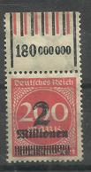 """Deutsches Reich 309A> WOR """" Briefmarke Mit Walzendruckoberrand (WZ Waffeln) """" Postfr. Mi.:6,00 - Allemagne"""