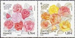 France Végétaux Fleurs N° 4957 Et 4958 ** Roses Diptyque (en Paire) - Rosen