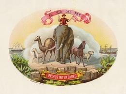 Grande étiquette Boite à Cigare Havane EL RIO DEL REY éléphant - Etiquettes