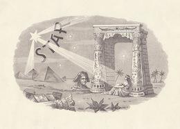 Grande étiquette Boite à Cigare Havane BANCES Y STAR  Pyramide Temple Egypte - Etiquettes