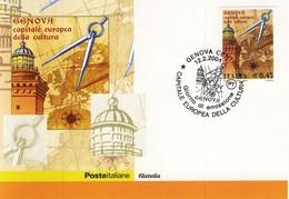 FDC ITALIA 2004 Cartolina Poste Italiane Unif. 2777 Genova Capitale Europea Cultura. - F.D.C.