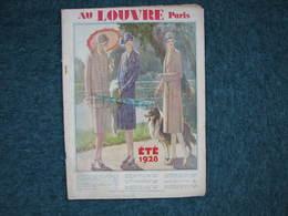 Au Louvre Paris été 1928 Catalogue 92 Pages 26X36 + Planche De 14 Echantillons Tissus - Textile & Clothing