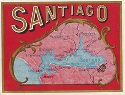 Fin 1800 étiquette Boite à Cigare Santiago Cuba - Etiquettes