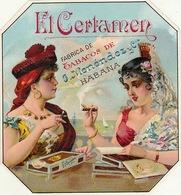 Fin 1800 étiquette Boite à Cigare El Certamen - Etiquettes