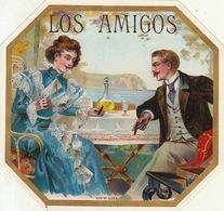 Fin 1800 étiquette Boite à Cigare Los Amigos - Etiquettes