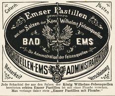 Original-Werbung/ Anzeige 1902 - EMSER PASTILLEN / BAD EMS - Ca. 75 X 65 Mm - Publicités