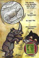 CPM Timbre Monnaie Jihel Tirage Limité En 30 Exemplaires Numérotés Signés Chat Souris Rhinocéros - Stamps (pictures)