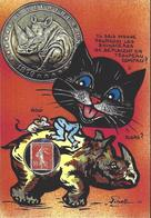CPM Timbre Monnaie Jihel Tirage Limité En 30 Exemplaires Numérotés Signés Chat Souris Rhinocéros - Timbres (représentations)