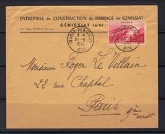 Injoux-Génissiat (Ain) : Enveloppe Et Timbre Concordant, 1er Jour De Mise En Circulation , 21/9/1948. - Marcophilie (Lettres)