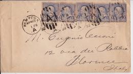 1892 New York Us Mail Cover To Florence Firenze Foreign Rate A Letter Franking Lettre Usa - 1847-99 Emissions Générales