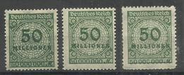 """Deutsches Reich 321AP,AW,BP """" 3 Briefmarken Mit Platten-,Walzendruck U Durchstochen (WZ Waffeln) """" Postfr. Mi.:4,00 - Allemagne"""