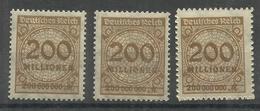 """Deutsches Reich 323AP,AW,BP """" 3 Briefmarken Mit Platten-,Walzendruck U Durchstochen (WZ Waffeln) """" Postfr. Mi.:4,30 - Allemagne"""