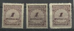 """Deutsches Reich 325AP,AW,BP """" 3 Briefmarken Mit Platten-,Walzendruck U Durchstochen (WZ Waffeln) """" Postfr. Mi.:4,80 - Nuovi"""