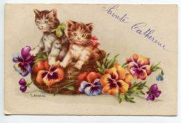 CHATS 0034 Illustrateur Gougeon   Chats  Dans La Corbeille De Fleurs Sainte Catherine  écrite - Gatti