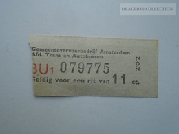 ZA153.23  Netherlands - Amsterdam  Tram  & Bus Ticket - Transportation Tickets
