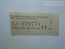 ZA153.24  Netherlands - Amsterdam  Tram  & Bus Ticket - Titres De Transport