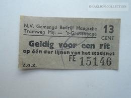 ZA153.25  Netherlands - S'Gravenhage  Tram   Ticket - Transportation Tickets