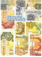 LITHUANIA -SET  OF :  10+50 CENTU+1+5+10 LITU-1989 , FIRST  TRIAL  NOTES USED IN  SIAULIAI  CITY , RY # 18081 -18085 - Lituanie