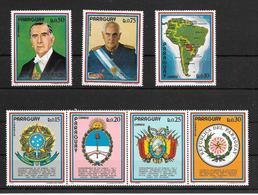 PRESIDENTES DE ARGENTINA ALEJANDRO AGUSTIN LANUSSE Y DE BRASIL EMILIO GARASTAZU MEDICI HISTORICO ENCUENTRO DE LOS PUEBLO - Stamps