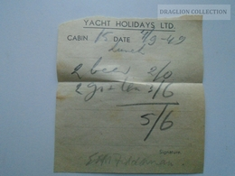 ZA153.26  Yacht Holidays Ltd. 1949 - Factures & Documents Commerciaux
