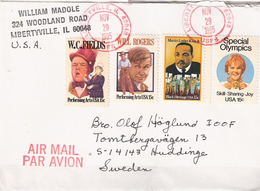 USA 1995 Cover With Four Stamps, WC Fields, Will Rogers, Martin Luther King, Special Olympics, Libertyville Nov 29 1995 - United States