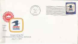 USA 1971 Cover With Inaugurating The United States Postal Service, Cancelled Lockport July 1st 1971  FDC - United States