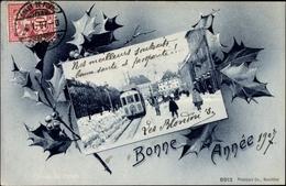 Passepartout Cp La Chaux De Fonds Kt. Neuenburg Schweiz, Straßenbahn, Straßenpartie, Winter, Neujahr - Nouvel An