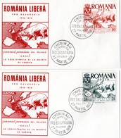 Europa. 2 Plis România Libera. Chisinau - Madrid 27/03/1958. Europe, Ours Polaire. Pro Basarabia. - EU-Organe