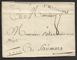 1775 - LAC - St. MAISXANT 38mm X 4mm ( Deux Sevres ). TB - Postmark Collection (Covers)