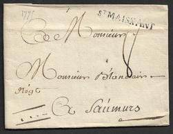 1775 - LAC - St. MAISXANT 38mm X 4mm ( Deux Sevres ). TB - Marcophilie (Lettres)