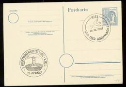 S0059 Alliierte Besetzung GS Karte Mit Sonderstempel Taube , Leuchtturm Kiel, Tag Der Briefmarke 1947 , Stempelbeleg. - Gemeinschaftsausgaben