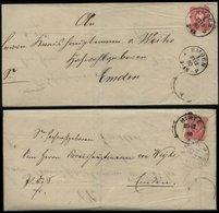 S1992 DR 10 Pfg Brief Doppelverwendung Ostfriesland, Gebraucht Uttum Hinte - Emden 1880 , Bedarfserhaltung Ohne Inhalt - Briefe U. Dokumente