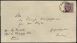 S1937 DR 5 Pfge Brief Ostfriesland, Gebraucht Emden 1878 , Bedarfserhaltung Ohne Inhalt. - Deutschland
