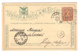 PR6153/ Mexico Entire PC 3 C C.Celaya 1895 Via N.Y. To Belgium Liège Arrival Cancellation - Mexique